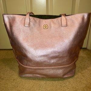 Tory Burch -- Metallic Leather Tote Pink
